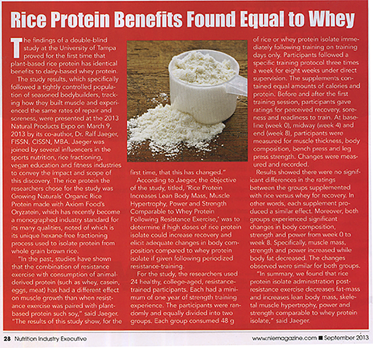 Nutrition Industry Executive Rice Protein Benefits