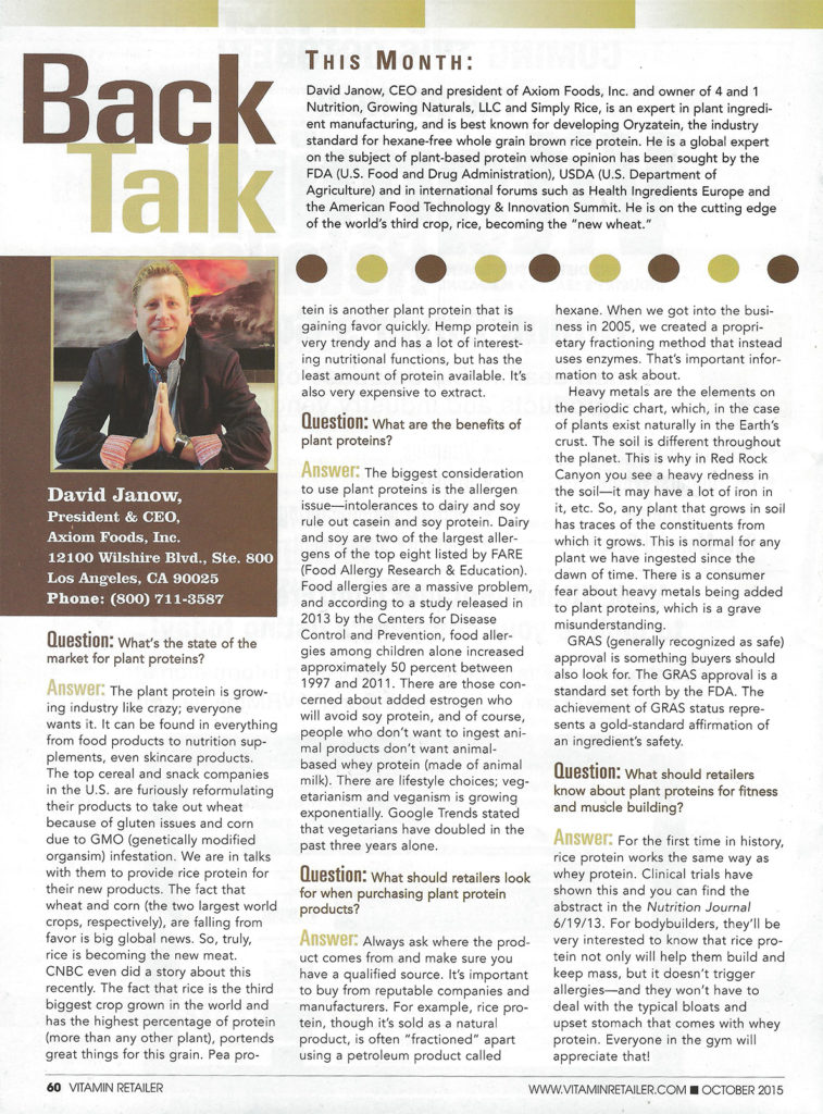 Vitamin Retailer Magazine - Back Talk David J - 1