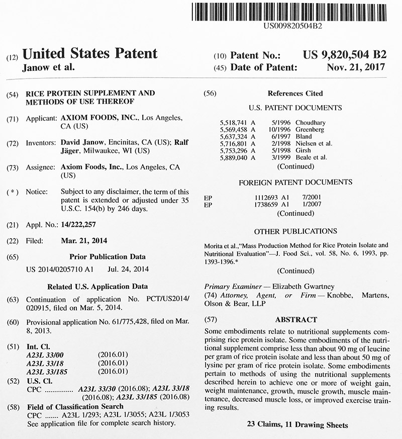 US Patent 9,820,504 B2