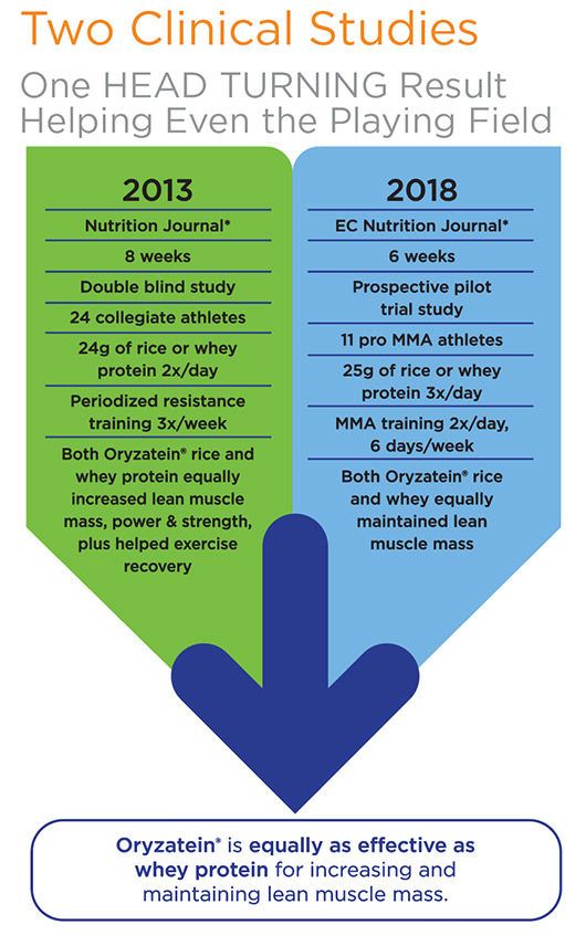 Two clinical studies prove Oryzatein rice protein is equal to whey protein in increasing and maintaining lean muscle mass